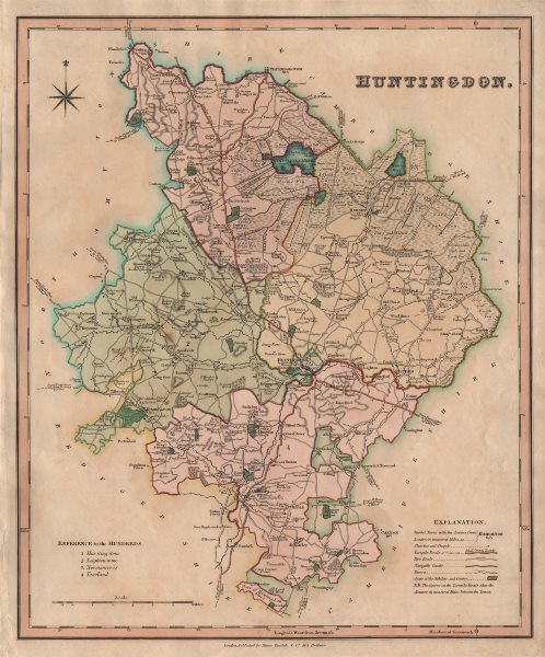 Associate Product Antique county map of Huntingdonshire by Henry Teesdale. 'Huntingdon' 1831