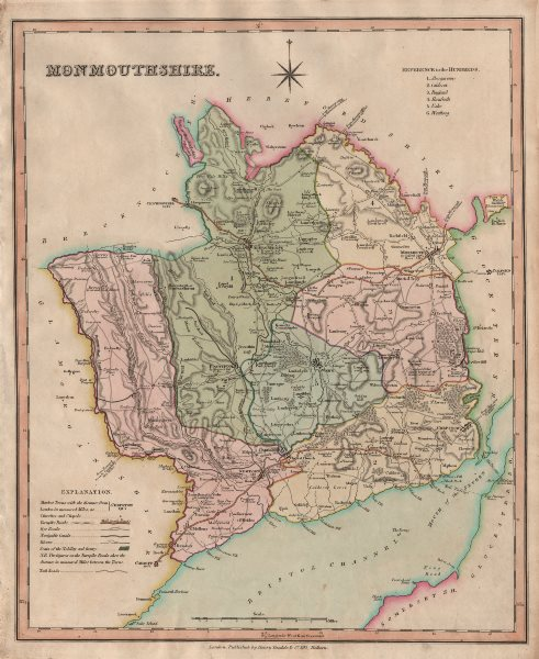 Antique county map of Monmouthshire by Henry Teesdale 1831 old