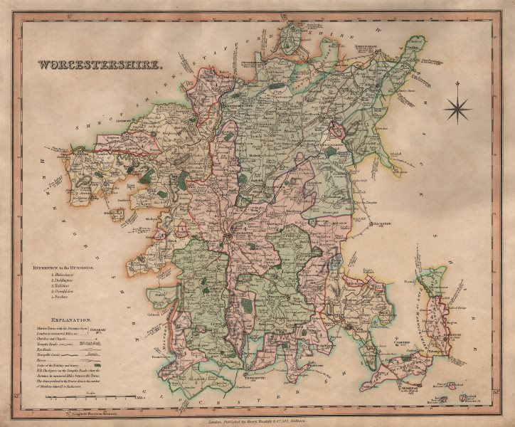 Antique county map of Worcestershire by Henry Teesdale 1831 old