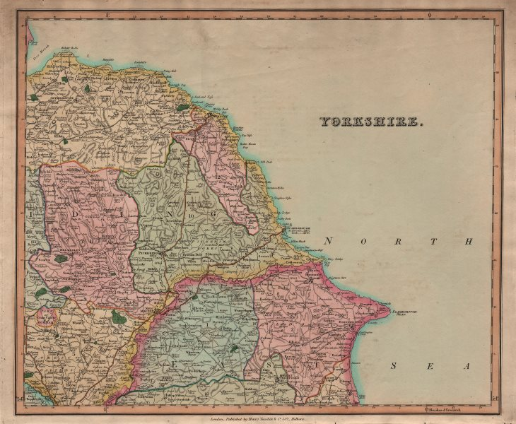 Associate Product Antique county map of North-east Yorkshire by Henry Teesdale 1831 old