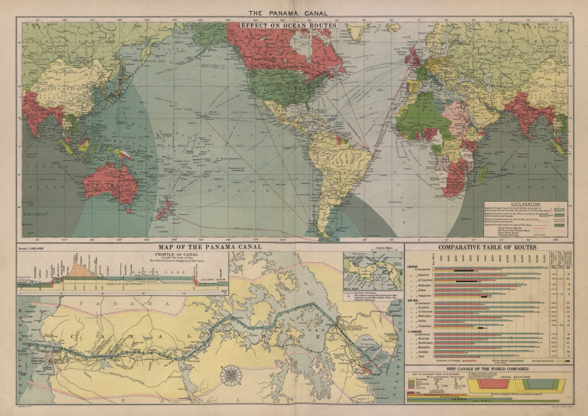 Associate Product PANAMA CANAL. Effect on Ocean Routes. Map & profile. LARGE 50x70cm 1916