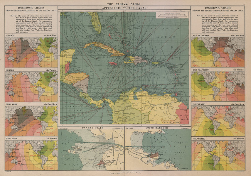 Associate Product PANAMA CANAL approaches. Isochronic charts before/after opening. Colon 1916 map