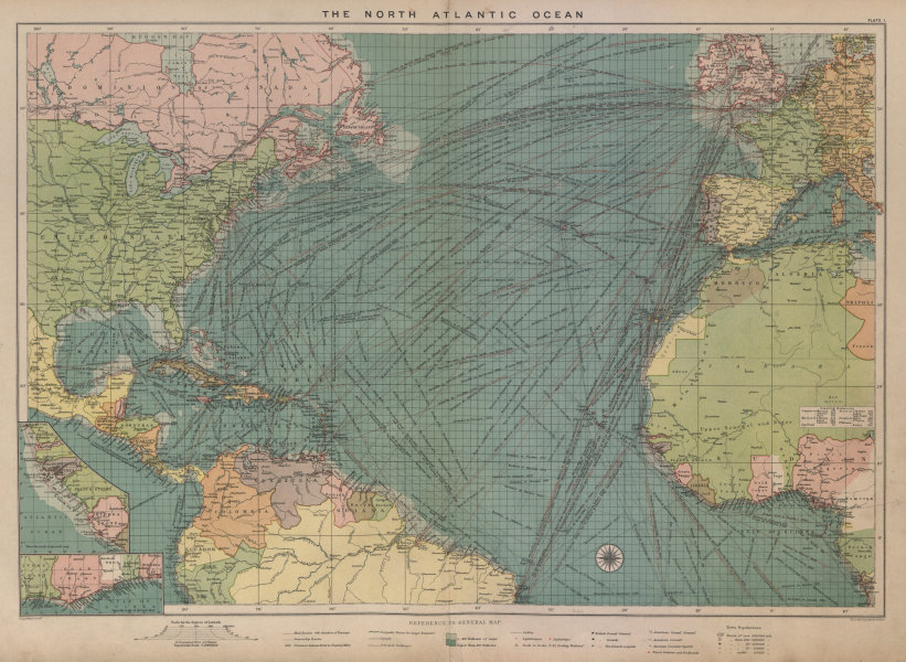 Associate Product North Atlantic Ocean sea chart. Ports lighthouses mail routes. LARGE 1916 map
