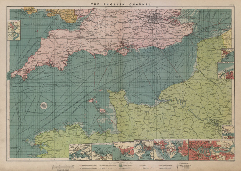 Associate Product English Channel sea chart. Ports lighthouses mail routes. LARGE 1916 old map
