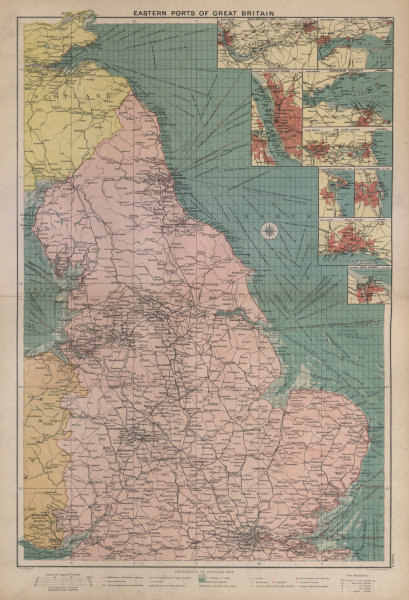 Associate Product Great Britain east coast ports sea chart lighthouses mail routes LARGE 1916 map