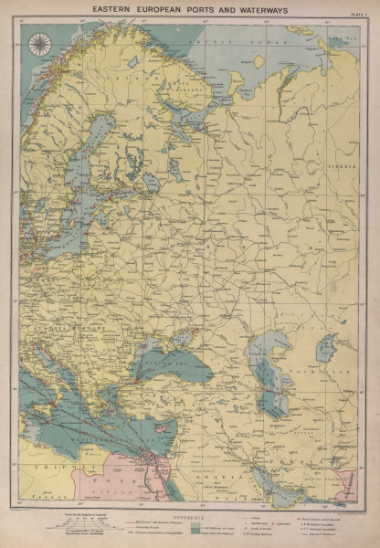 Associate Product Eastern Europe sea chart Ports Lighthouses mail route Black Sea Baltic 1916 map