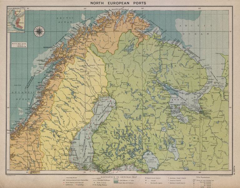 Associate Product Scandinavia Russia sea chart. Ports lighthouses. Arctic Ocean Bothnia 1916 map