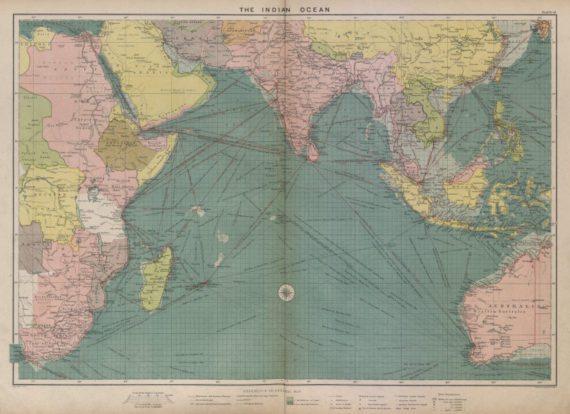 Associate Product Indian Ocean sea chart. Ports lighthouses mail routes dockyards. LARGE 1916 map