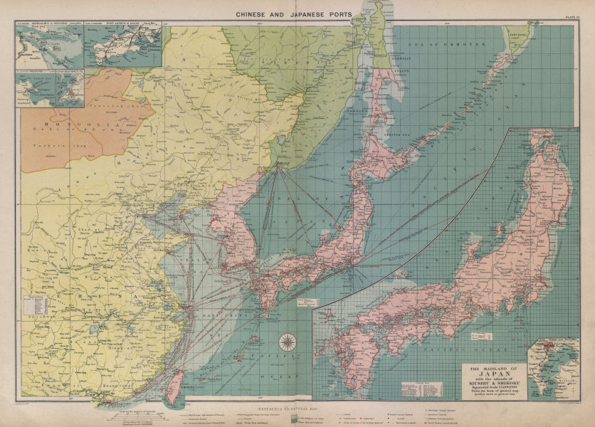 Associate Product Chinese & Japanese Ports sea chart. lighthouses mail routes. LARGE 1916 map