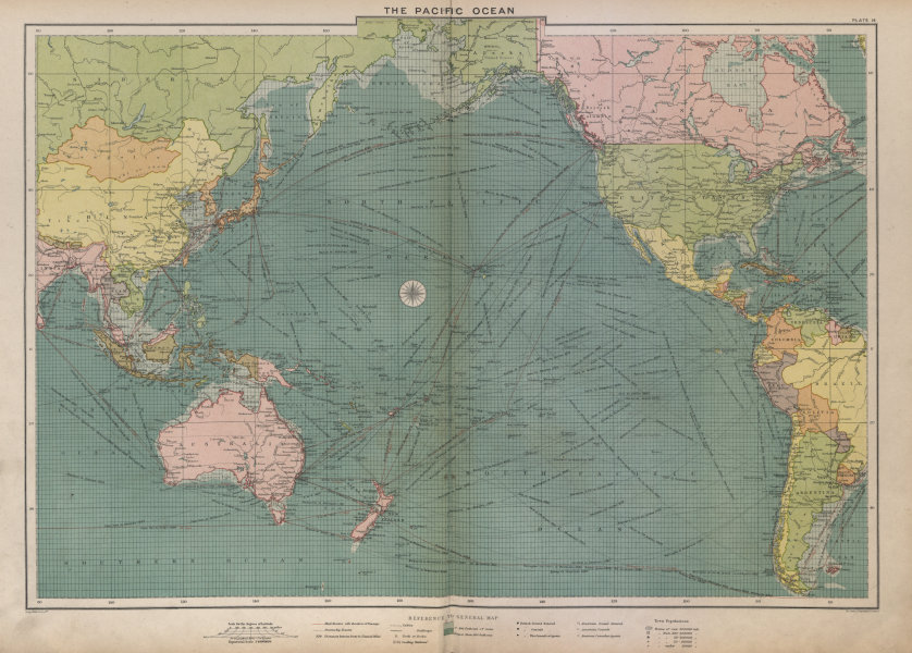 Associate Product Pacific Ocean sea chart. Ports lighthouses mail routes dockyards LARGE 1916 map