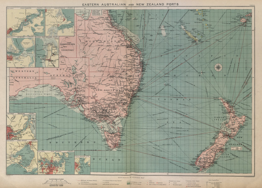 Associate Product Eastern Australia/New Zealand ports chart lighthouses mail route LARGE 1916 map