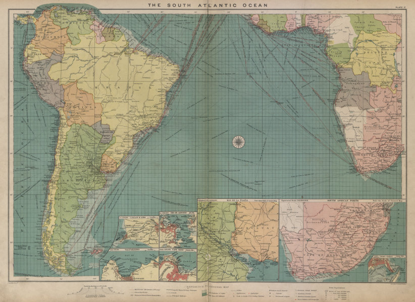 Associate Product South Atlantic Ocean sea chart. Ports lighthouses mail routes. LARGE 1916 map