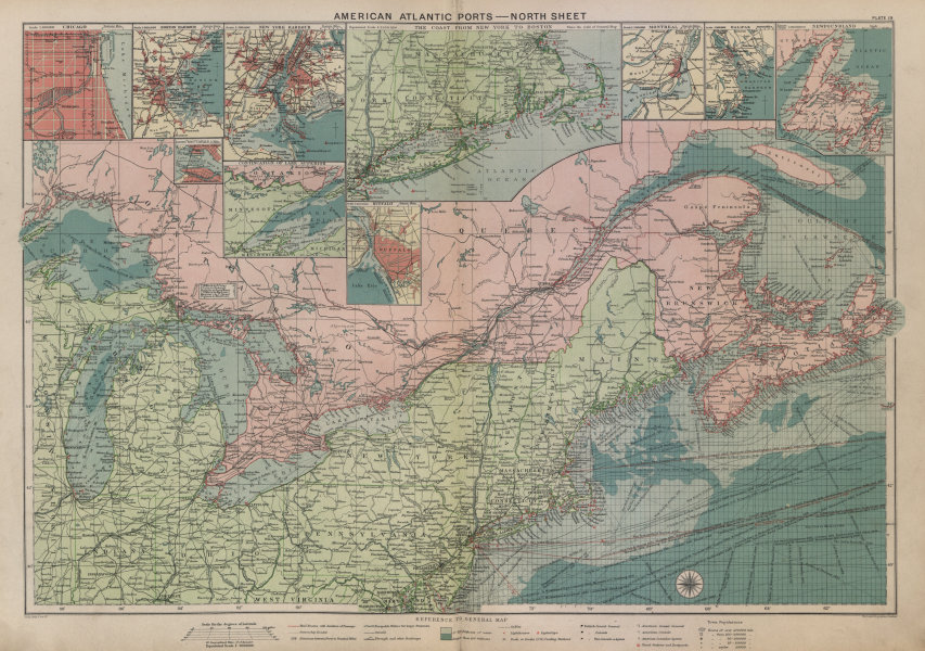 Associate Product US Canada Atlantic & Great Lakes ports sea chart. Lighthouses &c LARGE 1916 map