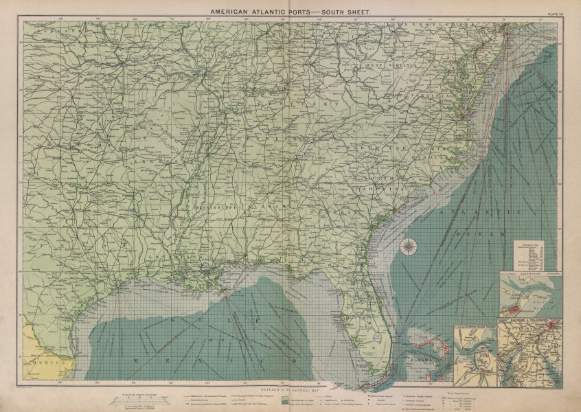 Associate Product US Atlantic & Gulf Coast Ports sea chart lighthouses mail routes LARGE 1916 map