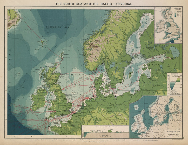Associate Product North Sea & Baltic. Cables & Wireless Stations Land visibility Section 1916 map