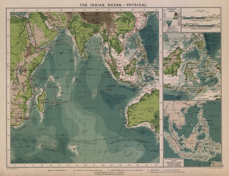 Associate Product Indian Ocean. Cables & Wireless Stations. Land visibility 1916 old antique map
