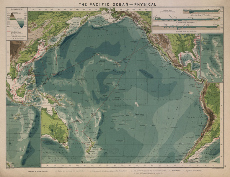 Pacific Ocean. Cables & Wireless Stations. Sections 1916 old antique map chart