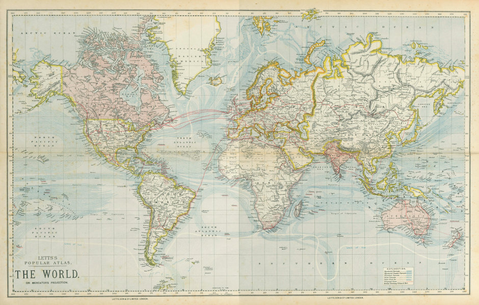 Associate Product WORLD ON MERCATOR'S PROJECTION. British Empire. Telegraph cables. LETTS 1883 map