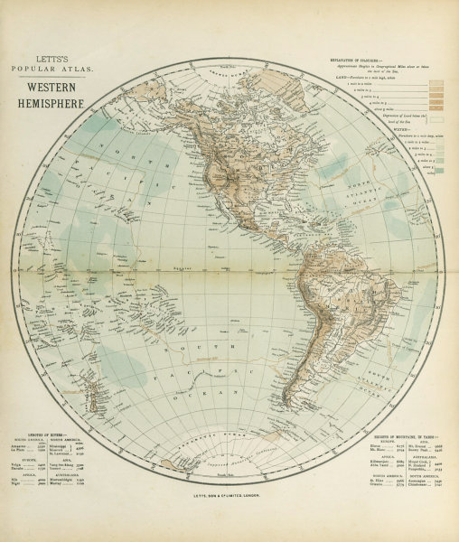 Associate Product WESTERN HEMISPHERE. The Americas; Pacific Ocean; New Zealand. LETTS 1883 map