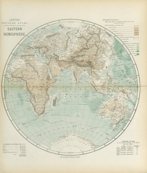Associate Product EASTERN HEMISPHERE relief. Europe Africa Asia Australia. LETTS 1883 old map