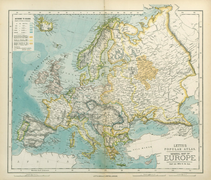 Associate Product EUROPE Political map with Russian borders in 1462, 1689 & 1878. LETTS 1883