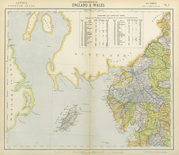 Associate Product LAKE DISTRICT & ISLE OF MAN WATERSHEDS ^ Lighthouses. Cumbria. LETTS 1883 map
