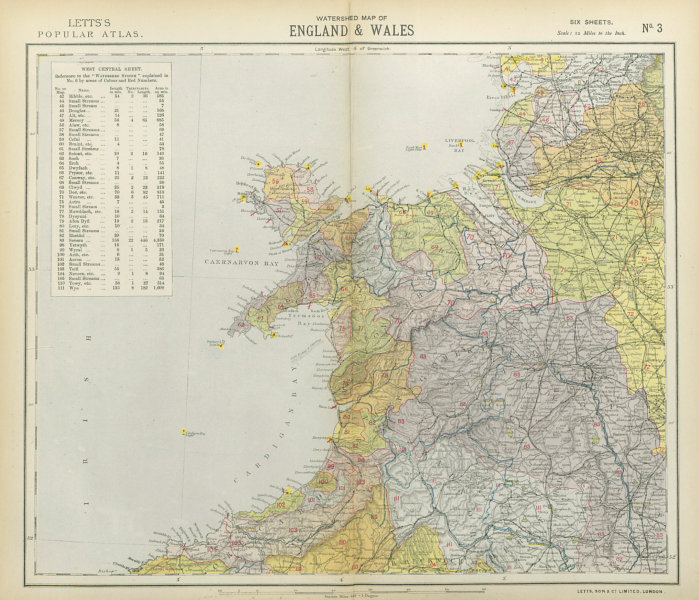 Associate Product NORTHWEST ENGLAND & NORTH WALES WATERSHEDS & Lighthouses. LETTS 1883 old map