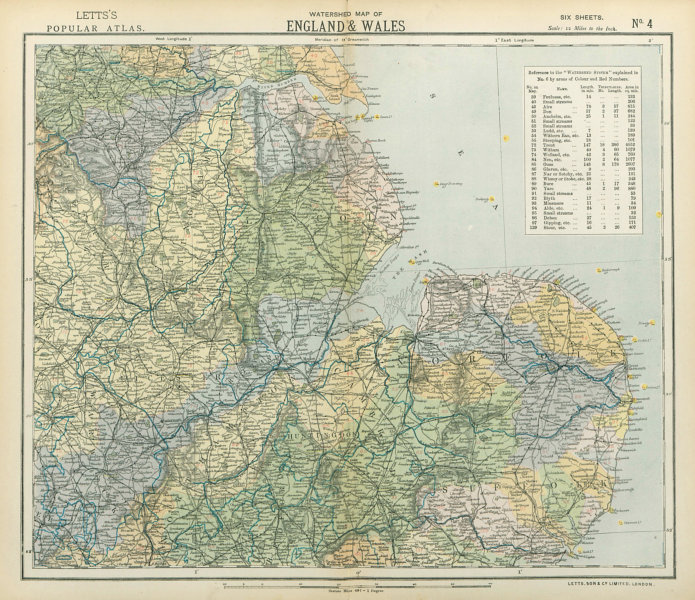 Associate Product ENGLAND EAST WATERSHEDS Lighthouses. Midlands/Anglia Lincolnshire LETTS 1883 map