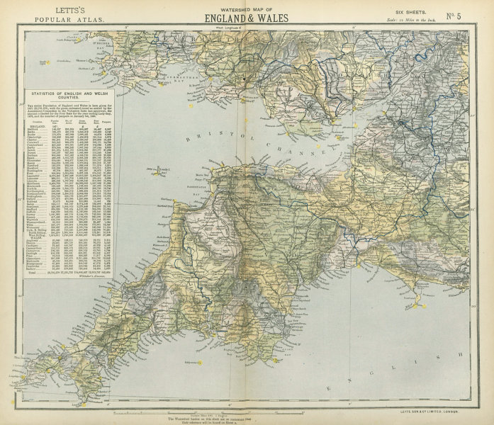 SOUTH WEST ENGLAND & SOUTH WALES WATERSHEDS. Lighthouses. LETTS 1883 old map