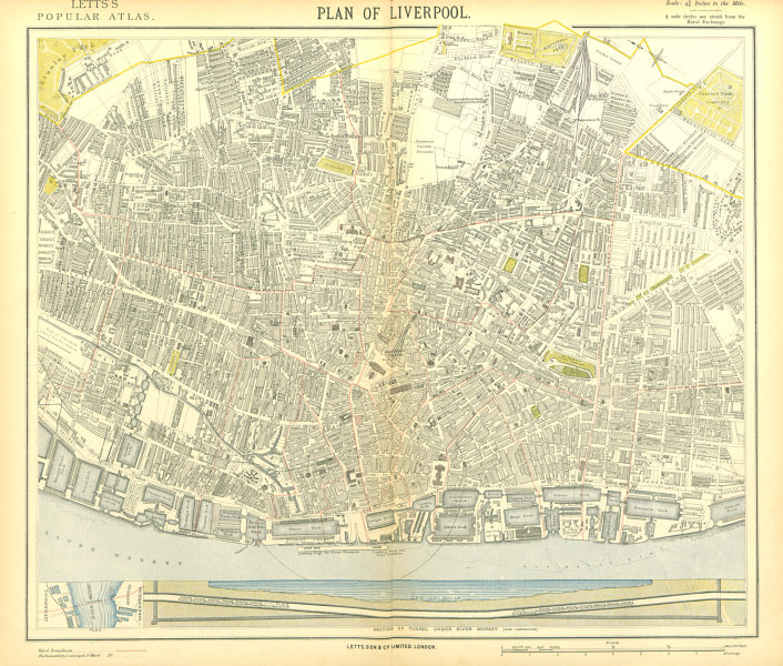 Associate Product LIVERPOOL town city map. Mersey Tunnel section. Ward boundaries.LETTS 1883