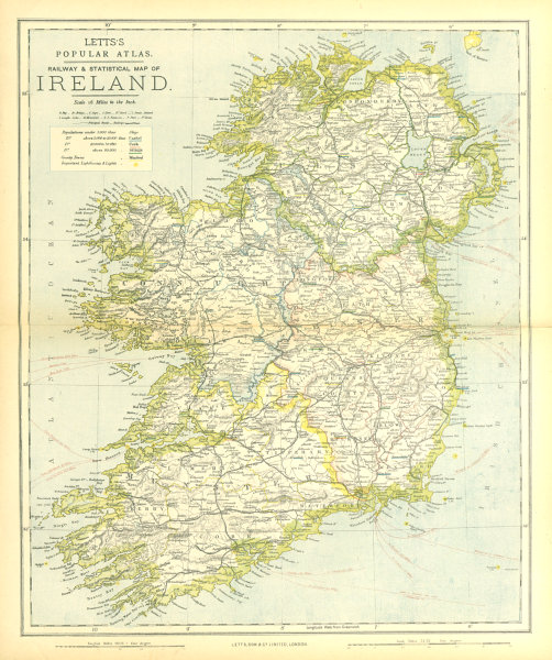 Associate Product IRELAND. Showing roads, railways, counties & provinces. LETTS 1883 old map