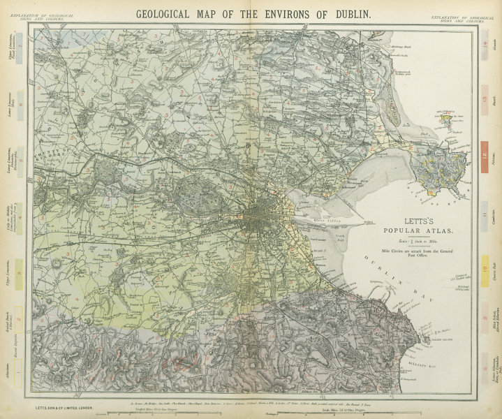 Associate Product Geological map of the Environs of Dublin. Ireland. LETTS 1883 old antique