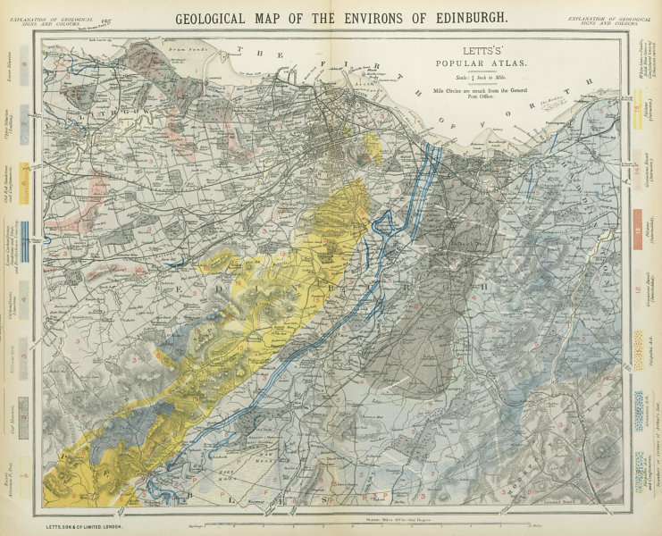 Associate Product Geological map of the Environs of Edinburgh. Scotland. LETTS 1883 old