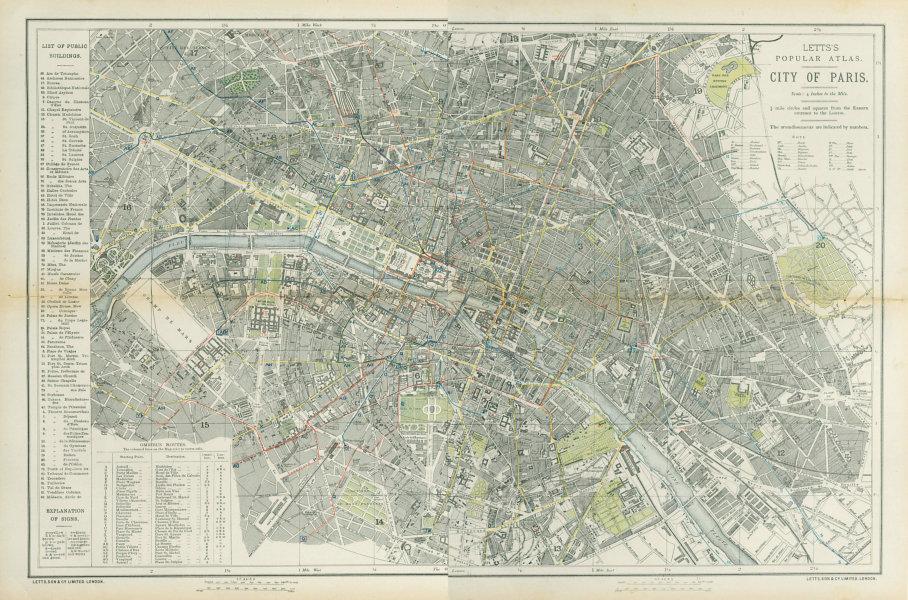 Associate Product PARIS antique town city map plan. Omnibus routes. LARGE. LETTS 1883 old