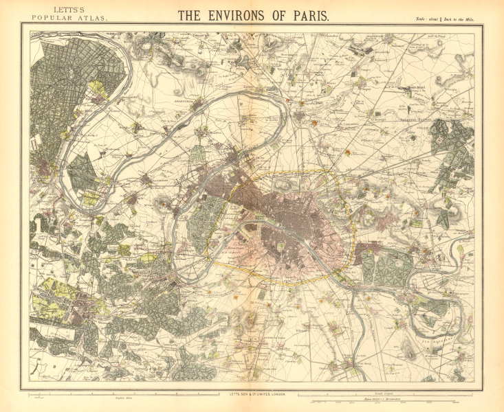 Associate Product PARIS ENVIRONS. Fortifications. Railways. Versailles. LETTS 1883 old map