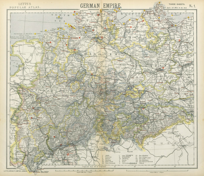 Associate Product GERMAN EMPIRE. Prussian Provinces. Lighthouses. British consuls. LETTS 1883 map