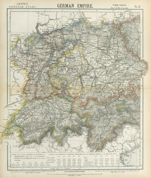Associate Product SOUTH GERMANY SWITZERLAND AUSTRIA Baden Württemberg Bavaria Tyrol 1883 old map