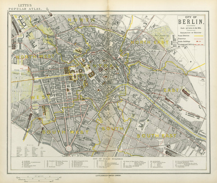 Associate Product BERLIN antique town city map plan. Tramways U-Bahn Postal districts LETTS 1883