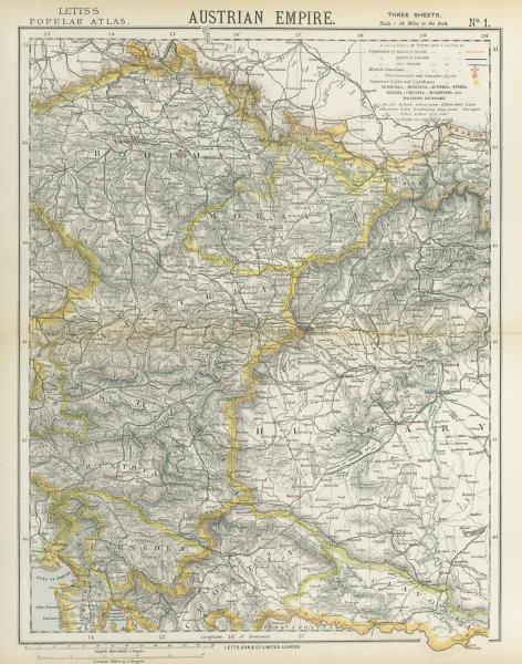 Associate Product AUSTRIAN EMPIRE. Bohemia Moravia Styria Illyria Croatia Hungary. LETTS 1883 map