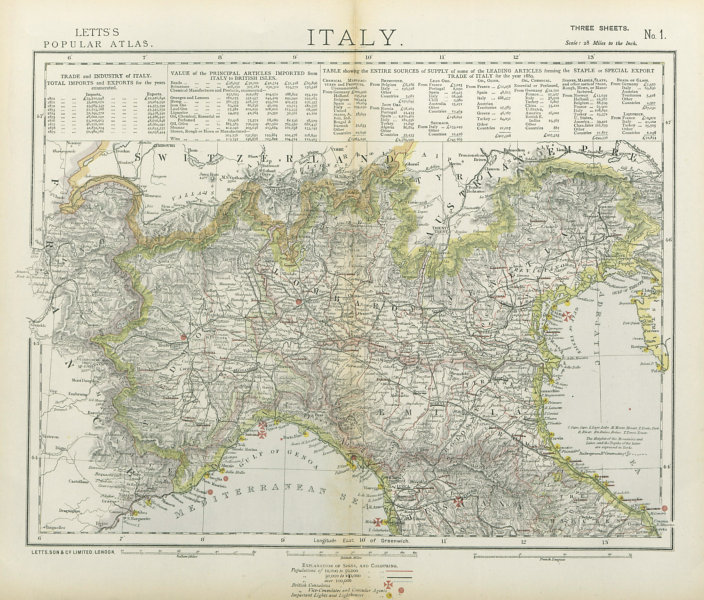 Associate Product NORTHERN ITALY. Lombardy Piedmont British consulates Lighthouses. LETTS 1883 map