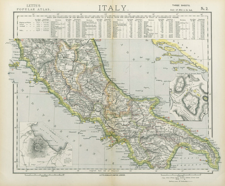 Associate Product CENTRAL ITALY. Campania Umbria. British consulates Lighthouses. LETTS 1883 map
