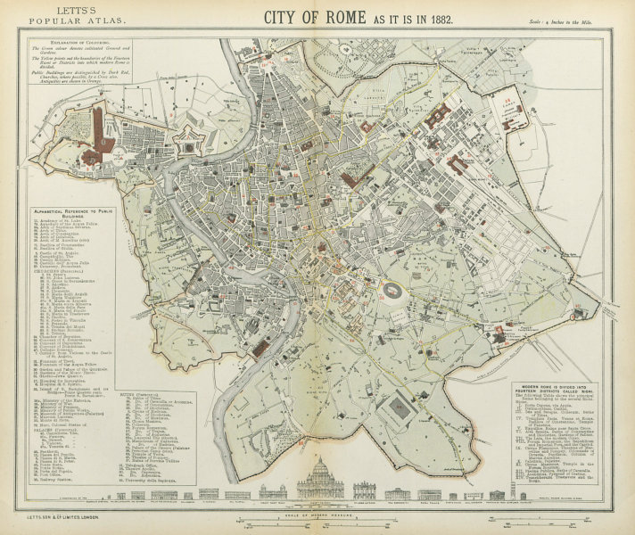 Associate Product ROME ROMA antique town city map plan. Building profiles. LETTS 1883 old