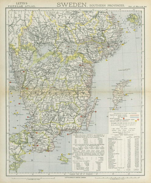 Associate Product SOUTHERN SWEDEN. Lighthouses & Railways. Malmo Gothenburg. LETTS 1883 old map