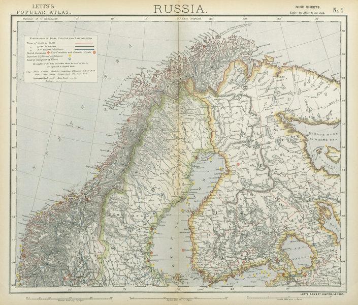 Associate Product SCANDINAVIA Northern Sweden & Norway, Finland, Karelia & Murmansk LETTS 1883 map
