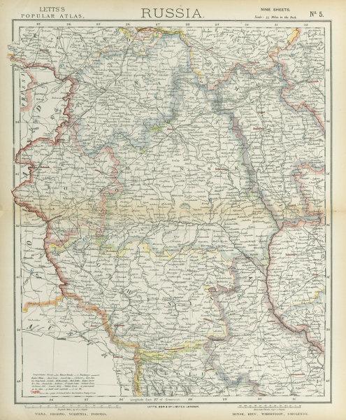 Associate Product EAST EUROPE Vilnius Belarus Lithuania Grodno Podolia Minsk Kiev LETTS 1883 map