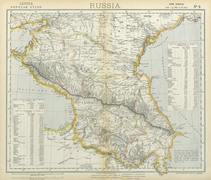 Associate Product CAUCASUS. Russia Circassia Astrakhan Georgia Azerbaijan Armenia. LETTS 1883 map