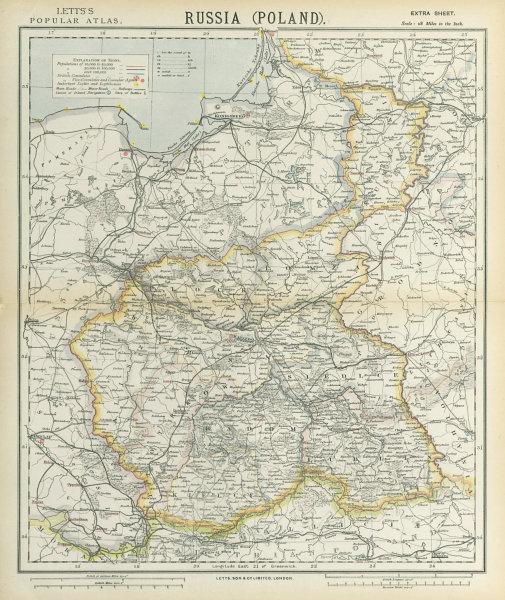 Associate Product POLAND POLSKA Kielce Warsaw Radom Plock Lomza Lublin Kalisz. LETTS 1883 map