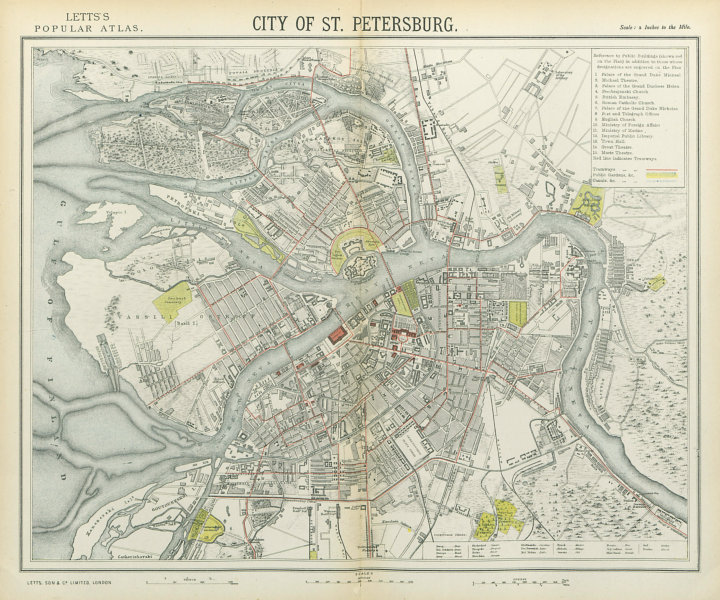 Associate Product SAINT PETERSBURG antique town city map plan. Tramways. LETTS 1883 old