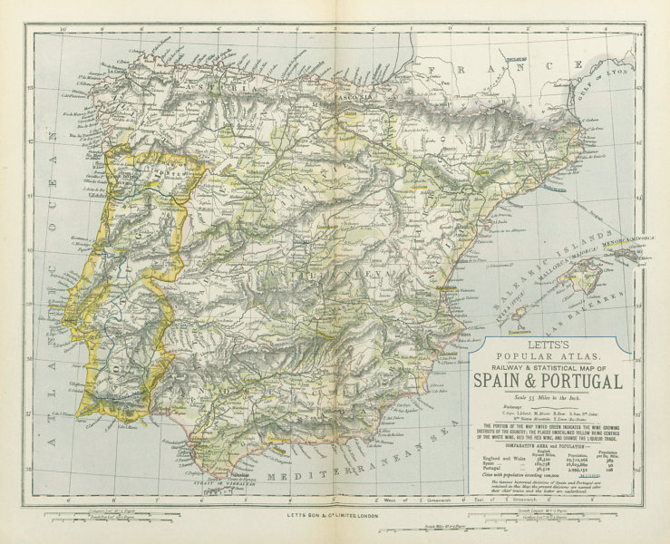 Associate Product SPAIN & PORTUGAL. Red & white white & liqueur regions in green. LETTS 1883 map