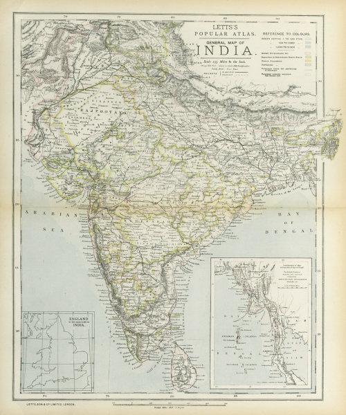 Associate Product BRITISH INDIA French Portuguese Native states Railways telegraphs LETTS 1883 map